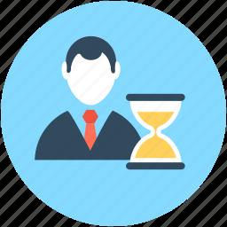 businessman and timer, businessperson, financier, hourglass, industrialist icon