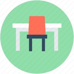 chair, office, office desk, table, workstation icon