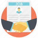 business people shaking hand, employee, job, new hiring, new joinee icon