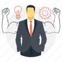 creative development, business man biceps, business strategy, business idea, creative process icon