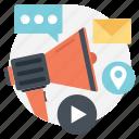 advertising, marketing communication, media advertising, sales promotion, social media icon