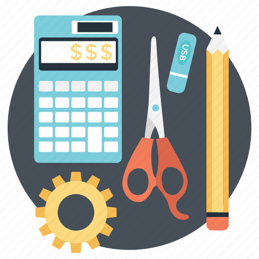 business tools, office supplies, office tools, stationery, writing supplies icon