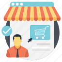 ecommerce manager, online manager, online shopping operations manager, online store director, online store manager icon