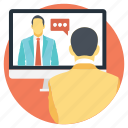 live chat, online conference, support, video call, video chat icon