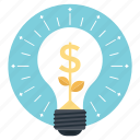 business concept, business idea, business solutions, dollar bulb, money making idea icon