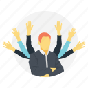 businessman versatility, businessman with many hands, busy businessman, concept successful businessman, effective business skills icon