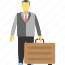 business travel, businessman arrival, businessman departure, businessman travel, businessman with traveling bag icon