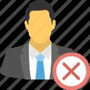 employment termination, fired employee, job elimination, male employee terminated, resigned icon