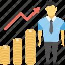 best seller graph, business progress, financial growth, financial success, successful businessman icon