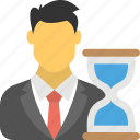 business planning, business time frame, businessman and hourglass, deadline symbol, time management