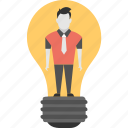 creative person, idea bulb, luminous idea, man inside bulb, smart businessman