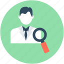 businessman identity, exploration, find person, recruitment, search person icon