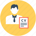 biodata, cv, job application, job profile, resume icon