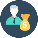 currency sack, dollar sack, investor, money bag, money sack icon