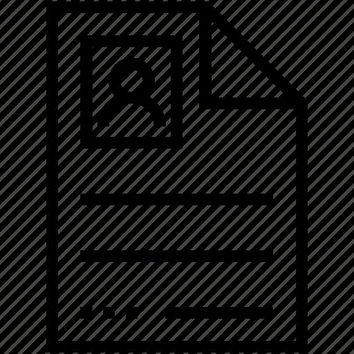biodata, cv, job applicant, job profile, resume icon