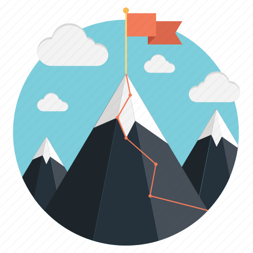 achievement, goal achieve, leadership, mission, mountains icon