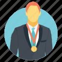 best seller badge, business winning, businessman wearing award badge, employee award, employee of the month badge icon
