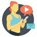 video call, video chat, video communication, video conference, video message icon