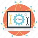 cms, content management, data management, information technology, preferences icon