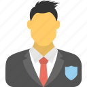 business insurance concept, business protection, business stability, business warrior, businessman with shield icon