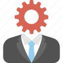 business management, businessman, industrialist, project management, technical gear icon