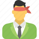 aimlessly businessman, blind career move, blindfolded businessman, business crisis, outsourcing strategy icon