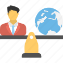 business justice scale, business leader concept, businessman and earth weighing, businessman balancing scale, international business scale icon