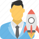 business startup, looking on rocket launch, new business, rocket launch, startup company icon