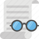 agreement, contract, document, eyeglasses and document, important file icon