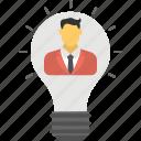 creative person, idea bulb, luminous idea, man inside bulb, smart businessman icon