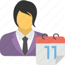 appointment, business agenda, business calendar, businessman with calendar, scheduling icon