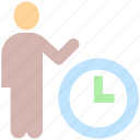 business, businessman, clock, human, management, resources, time, work icon