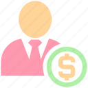 avatar, currency, customer, dollar, finance, human, man, money, people, person, user