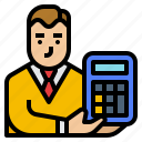 accounting, avatar, business, consulting, finances icon