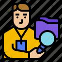 audit, avatar, business, management, staff icon