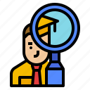 business, labor, magnifier, market, research icon