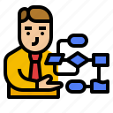 business, chart, consultant, management, process icon