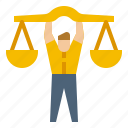 avatar, employee, law, right, scale icon