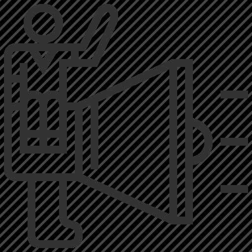 advertising, avatar, employee, human, profile, promote, resources icon