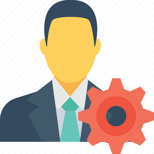 cog, corporation, leader, man, management icon