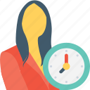 appointment, clock, female, punctual, time icon