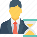 hourglass, man, person, precessing, waiting icon