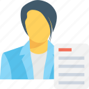 article, blog, correspondence, person, resume icon