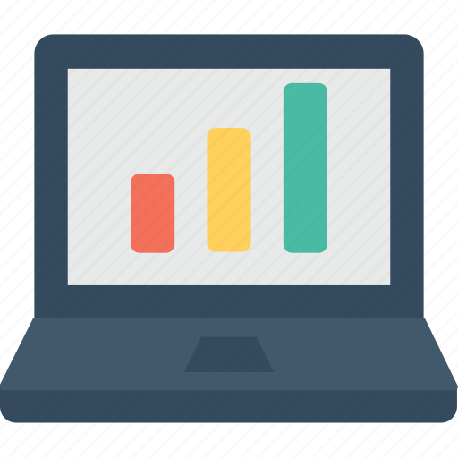 analytic, chart, infographic, laptop, online graph icon