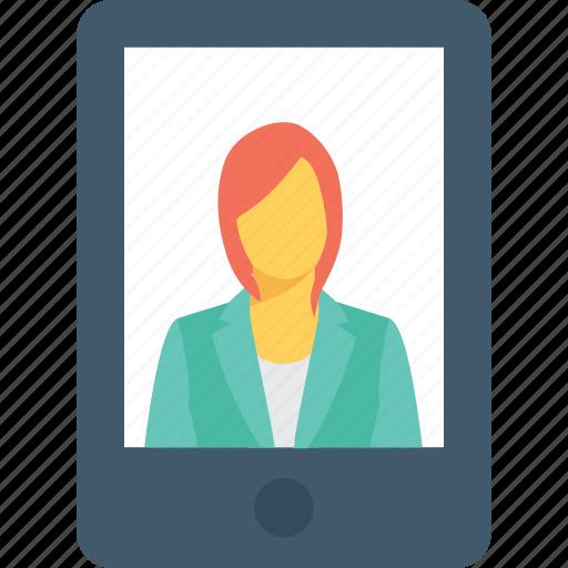 communication, mobile, profile, smartphone, video call icon