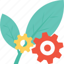cog, cogwheel, leaf, settings, spinach icon