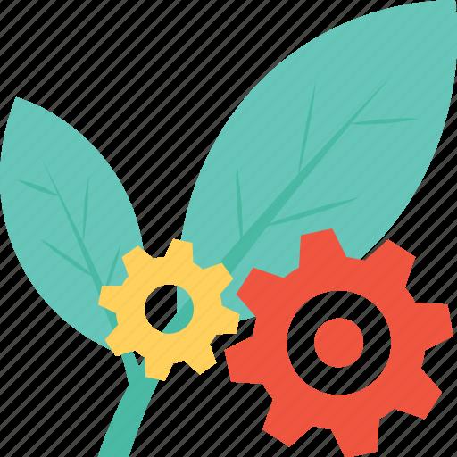 cog, cogwheel, leaf, settings, spinach icon