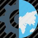 development, global management, globe, internet cogwheel, user icon
