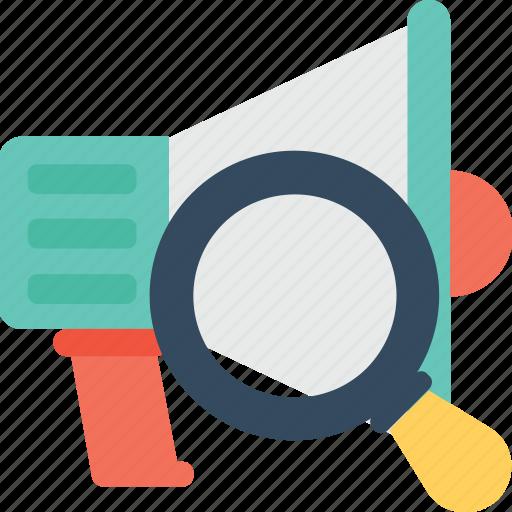 advert, bullhorn, find, magnifier, megaphone icon