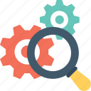 cog, find searching, gear, magnifier, settings icon
